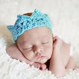 D�guisement B�b� Enfant Roi Couronne Bleu Princesse Hairband Crochet Bandeau Cheveux