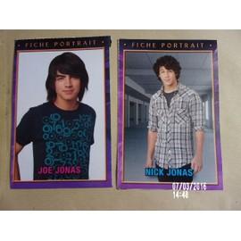 lots de 2 fiche portrait Joe et Nick Jonas