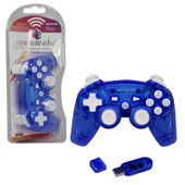 (Pdp) Manette Pad Joystick Wireless Sans Fil Pour Console De Jeux Playstation 3 Ps3, Bleu/Transparent - Rock Candy