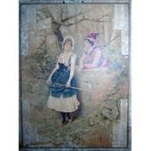 Grand Calendrier De 1895 - Motif Couple Romantique