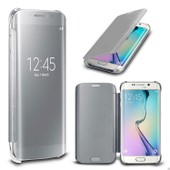 Coque Flip Cover View Pour Galaxy S7 Edge Argent