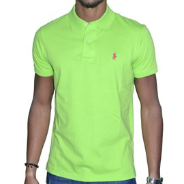 Ralph Lauren - Polo Manches Courtes - Small Pony Custom Fit - Kiwi Vert Rose