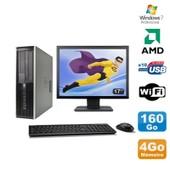 Lot PC HP Compaq 6005 Pro SFF AMD 3GHz 4Go 160Go Graveur WIFI Win 7 Pro + 17
