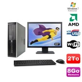 Lot PC HP Compaq 6005 Pro SFF AMD 3GHz 8Go 2To Graveur WIFI Win 7 Pro + 22
