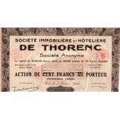 Action De 100 Franccs De Thorenc Societe Immobiliere Et Hoteliere