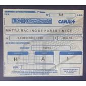 Ticket Football Matra Racing - Nice 1988