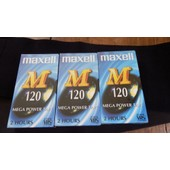 Lot de 3 VHS Maxell 120 - Mega Power Tape (2 heures)