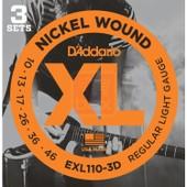 Lot De 3 Jeux De Cordes Guitare Electrique D'addario Xl Light 10-46 (Exl110-3d) Acier Plaqu� Nickel