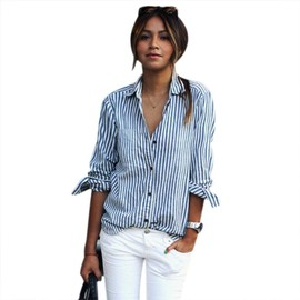 Chemisie Femme Ray� Blouse Col Mao Manches Longues Coton Temp�rament �l�gant Mode