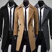 Manteau Veste Hommes Double Boutonnage Laine Mode Cor�enne El�gant Trench-Coat Long D'hiver Double Breasted V�tements De Plein Air