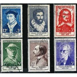 france 1956, belle série personnages, yvert 1066 guillaume budé, 1067 jean goujon, 1068 champlain, 1069 chardin, 1070 barrès et 1071 ravel, oblitérés, TBE
