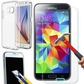 Coque Transparente Souple Silicone Samsung Galaxy S7 + Film En Verre Trempe