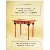 Dessins Et Tableaux - Meubles Anciens - Art Nouveau - Art D�co Me Deurbergue Drouot 3 Juillet 1992