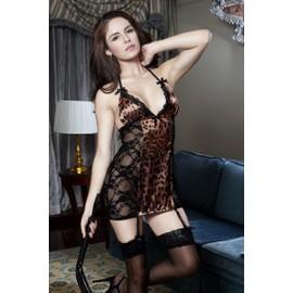 Gu�pi�re Sexy Paris Hollywood Gu�pi�re+String Pussycat Leopard Tu Dentelle Unique Noir