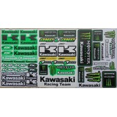 Planche Autocollant Stickers Kawasaki Monster Energy Vert - Lot De 3