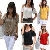 T-Shirt Blouse �paules Creuse Pour Femme Fille Style De Sexy Japon Tops Sling Manches Courtes