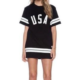 Wecheers�Femmes 86 Am�ricain Baseball Tee T-Shirt L�che Chemise Blouse Robe Top Dress