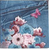 Lot De 2 Serviettes D�co Papier: Blue Jeans Fleuri