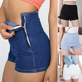 Short En Jean Taille Haute Short D'�t� Denim Courtes Jeans Hot Pants Femme