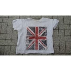 T-Shirt Fruit Of The Loom Taille 98cm 2/3 Ans Blanc Avec Union Jack