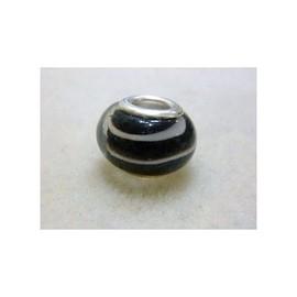 Charm Perle Charms Mod�le: Verre Noir Filet Blanc -Compatible Pandora-M�tal Argent�-Ch16mc1-2