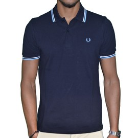Fred Perry - Polo Manches Courtes - Homme - Fpetsm3600 - Navy Ciel Blanc