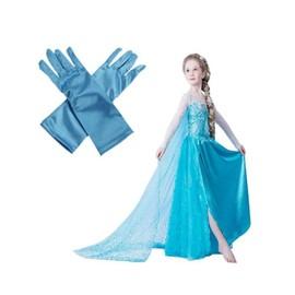 Superb Robe + Gants Bleu Elsa La Reine Des Neiges Grande Taille Enfant 8 � 12 Ans Pour F�te Anniversaire Soir�e Look Princesse