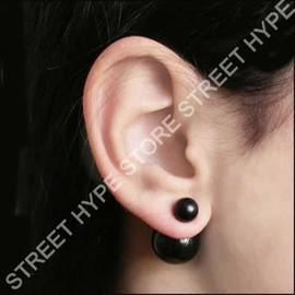 Boucles D'oreilles Double Boules, 2 Perles Avant Arri�re (Existe En Argent� Dor� Bronze Gris Beige Blanc Rose Bleu Noir Rouge)