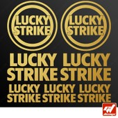 Planche 7 Stickers Autocollants Lucky Strike - Or - Sticker, Autocollant, Moto, Bike, Kit, Deco, Tuning, Decal, Gt-Design, Gt Design, Gtdesign