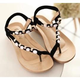 Sandales Plates Pas Cher Confortable Style De Boh�me Orn� Des Perles-Emilie Vogue