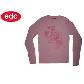 T-Shirt Neuf Col Rond Debardeur Manche Longue - Top Imprime - Edc By Esprit - Femme / Fille - T. 40 / 42 Ou T. 3 / 4 Ou T. L / Xl - Neuf