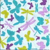 Lot De 2 Serviettes D�co Papier: Papillons Et Libellules