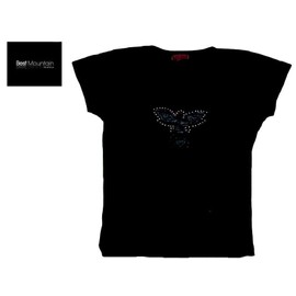 T-Shirt Neuf Debardeur Noir Top Oiseau Strass Argent - Best Mountain - Femme / Fille - T. 38 Ou T. 2 Ou T. M - Neuf