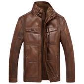 Veste Jacket Hommes En Pu Cuir Col Stand Nouvelle Mode Blouson Manches Longues