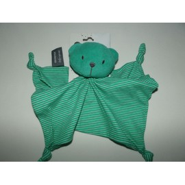Doudou Ours Plat Vert T�te �ponge Ray� 4 Noeuds Orchestra Premaman