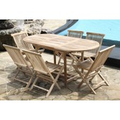 Salon De Jardin Teck Brut 6/8 Pers - Table 120/170x90 + 6 Chaises
