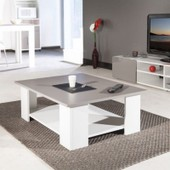 Cherry Table Basse Blanche Et Taupe 89x67x31cm