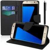 Samsung Galaxy S7 Edge G935f/ G935fd/ S7 Edge (Cdma) G935: Etui Portefeuille Livre Housse Coque Pochette Support Vid�o Cuir Pu Effet Tissu + Stylet - Noir