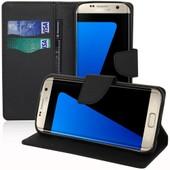 Samsung Galaxy S7 Edge G935f/ G935fd/ S7 Edge (Cdma) G935: Etui Portefeuille Livre Housse Coque Pochette Support Vid�o Cuir Pu Effet Tissu - Noir