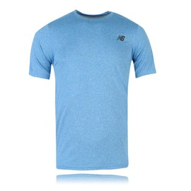 New Balance Heather Tech Hommes Bleu �vacuant Manche Courte T Shirt Tee Top