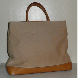 La Bagagerie Grand Sac A Mains Toile & Cuir Beige / Camel Comme Neuf