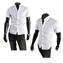 Chemise Homme Manches Courte Slim Fashion Fit Business Col Am�ricain D�contract�e Look Branch� Classe Et Tendance Et�