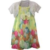 Robe Tunique Imprim� Fleurie Enfant Fille Bolero Uni Strass C�remonie !! Taille 4 Au 12ans-65%Coton 35%Polyester !! Expedition En 24/48hrs