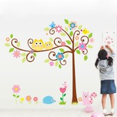 Owl Arbre Animaux Bande Dessin�e Photo Wall Sticker Home Stickers Muraux D�coration Auto - Adh�sif Affiche Enfant De Maternelle Qa085-Sz