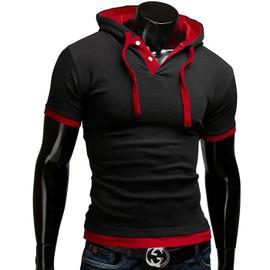 T-Shirt Capuche Manches Courtes Homme Polo Sweat Slim Fashion Street Urban Skateur Surf Bicolore Ado Gar�on