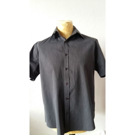 Chemise Manches Courtes Armand Thiery Taille 4(=40) � Rayures Noires Grise