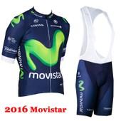 2016 Movistar Cyclisme Jersey Summer Style Ropa Clismo Hombre Abbigliamento Vtt Maillot Pro Cycling V�tements Hot Vente