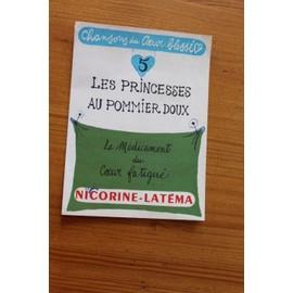 chanson du coeur blessé - publicité ancienne avec mini partition les princesses au pommier doux - pour nicorine-latema - 2413