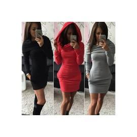 Les Femmes Bodycon Sweats Capuche Mesdames Slim Mini - Robe Pull De Poche.