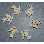 6 Boutons Cheval � Bascule Bois Couture Layette Scrapbooking Loisirs Tricot